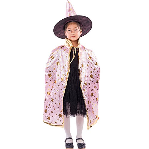 SEWORLD Baby Halloween Kleidung,Niedlich Kinder Halloween Kostüm Zauberer Hexe Umhang Kap Robe und Hut für Jungen Mädchen(Rosa,One Size)