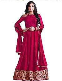 Ethnic Wings Women Faux Georgette Anarkali Semi-Stitched Salwar Suit (EW& ET_ER10465_Red_Free Size)
