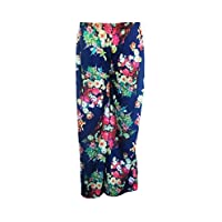 Fashion Oasis New Ladies Womens Standard & Plus Size Plain & Floral Print Palazzo Wide Leg Trousers Various Designs & Colours Available Elasticated Waist (UK Size 16/18, Navy Pink Flowery)
