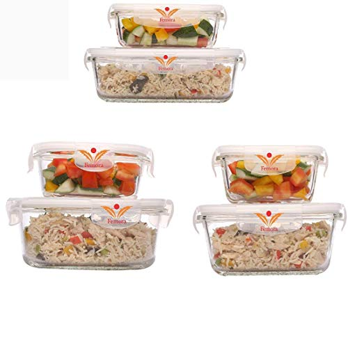Femora Borosilicate Glass Food Storage Container with Air Vent Lid - 1 Year Warranty Set of 6-Medium