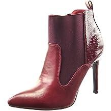 Sopily - Zapatillas de Moda Botines chelsea boots low boots bimaterial A medio muslo mujer piel de serpiente Talón Tacón de aguja alto 10.5 CM - Rojo