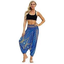 Yoga Pantalones Mujer Deportivas Trousers Boho Festival Hippy Leggins Polainas para Mujer EláSticos Pilates Fitness Estilo Estampado Pantalones Pantalones Harén Aladdin Jumpsuit (Azul claro)