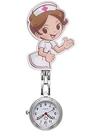 JSDDE Women's Girls' Cute Cartoon Nurse Clip-on Fob Brooch Metal Hanging Pocket Watch, Pretty Nurse