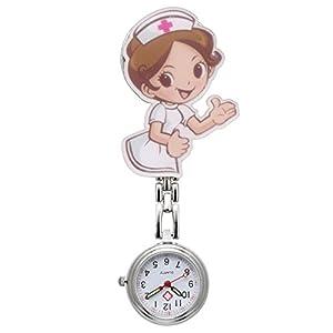 JSDDE Uhren,Krankenschwester FOB Uhr Pflegeruhr Pulsuhr Ketteuhr Schwesternuhr Quarz Taschenuhr, Cartoon Mädchen Krankenschwester #1