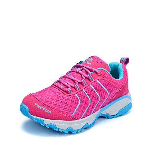 emansmoer Femme Ultra-léger Outdoor Sport Chaussures de Randonnée Marche Trekking Lace-up Mesh Respirante Confort Sneaker Rose Rouge