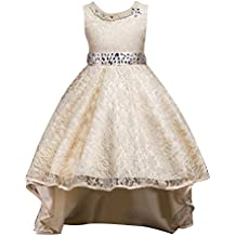 9100bda79587 Qitun Fiore Ragazze Bambina Senza Maniche Abiti da Cerimonia Eleganti  Principessa Partito Matrimonio Comunione Compleanno Vestiti