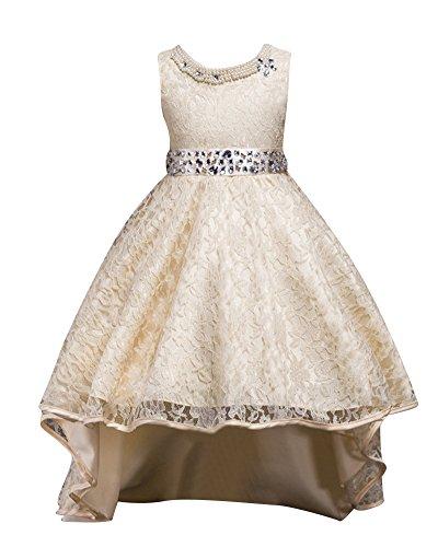 Qitun Fiore Ragazze Bambina Senza Maniche Abiti da Cerimonia Eleganti Principessa Partito Matrimonio Comunione Compleanno Vestiti Principessa Vestito Champagne 150CM/9-10Anni
