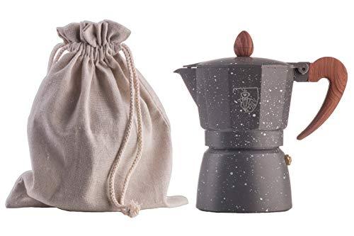Let's Moka marmor Express für 3 Tassen, Natur Geschenk Packung