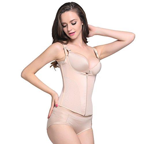FeelinGirl Body Damen Shirt Bodysuit Ärmellos Stretch Rundhalsausschnitt Träger Top XXL Beige (Haltung Ärmellos)
