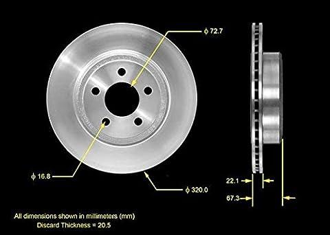 2x Brake disc rear Diameter 320mm for Chrysler 3002005–13/Dodge Challenger