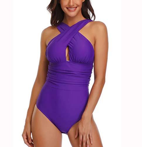 Misolin Damen Badeanzug Neckholder V-Ausschnitt Rückenfrei Einteiliger Bademode Bauchweg Cutouts Strandmode Lila L