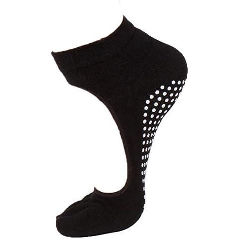 Tongshi Mujeres corto sin respaldo yoga gimnasia no del resbalón del dedo del pie Grip total de cinco calcetines del dedo (negro)