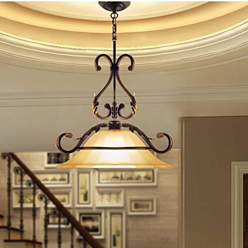 SUNA Hause Kronleuchter Nordischen Retro Amerikanischen Schmiedeeisen Land Kronleuchter Europäischen Wohnzimmer Glas Neue Lampe