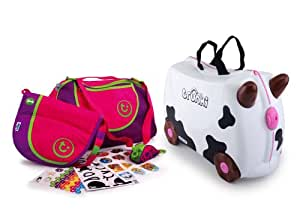 Trunki Ride-on Suitcase and Extras Bundle: Frieda the Cow (Black & White)