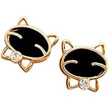 Vi.yo 1Pair Ear Jewelry Boucles d'oreilles Femmes Black Cat Rhinestones Stud Earrings (Black)
