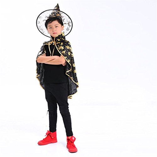 happy event Halloween Erwachsene Kinder Baby Mädchen Junge Kostüm Zauberer Hexe Umhang Kap Robe + Hut Set Kleidung | Halloween Adult Children Kids Costume Wizard Witch Cloak Cape Robe+Hat Set (Gold)