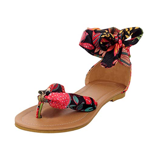 Sandales Femmes Plates Tropeziennes,Yesmile Bohemia Style Lace-Up Flats Open-Toed Chaussures