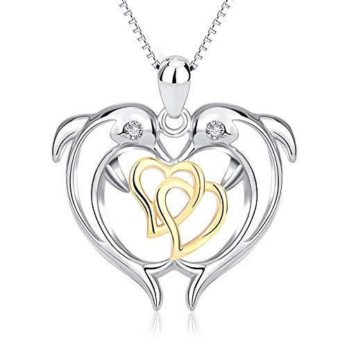 Collane da donna moda doppio delfino ciondolo placcato oro a forma di cuore s925 ciondolo da donna in argento con ciondolo san valentino gioielli,onecolor-onesize