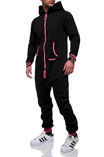 MT Styles Herren Jumpsuit College Overall Trainingsanzug Sportanzug Onesie JS-307 [Schwarz/Pink, XS]