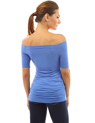 PattyBoutik femmes top manches 3/4 épaules nues azur modérée
