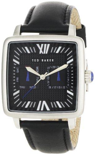 Ted Baker TE1053 - Reloj para hombre con esfera y correa de cuero negras