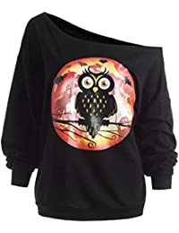 ImpresióN Party Hoodie Top Sweatshirt,Belasdla Mujer BúHo Imprimir Hombro Sin Tirantes Manga ...
