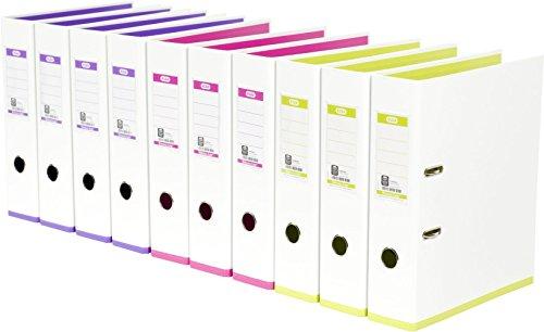 ELBA 100023638 Ordner myColour 10er Pack Kunststoffbezug außen und innen 8 cm breit DIN A4 zweifarbig weiß sortiert, weiß/violett, weiß/pink und weiß/hellgrün