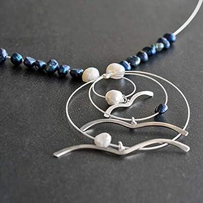 Bijoux d'oiseau, pendentif oiseau, collier avec pendentif de mouette, collier de déclaration. Cadeau pour maman, collier oiseau, collier d'été, collier bleu