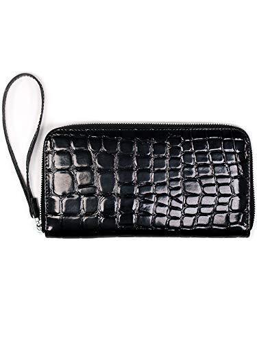 Patent Croc (Will's Vegan Shoes Damen Large Zipper Wallet Black patent mock croc)