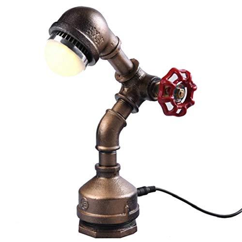 NYDZ Antike Retro Industriewasserpfeifen-Roboter-Schreibtisch-Lampe, Metall führte Loft-Tabellen-Akzent-Lampen energiesparendes Nachtlicht, amerikanische Leseschreibtisch-Beleuchtung-Nachttisch-Nachtt -
