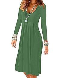UR Angel Women Summer Sleeveless Long Sleeve Pleated Loose Party Eveing  Pocket Swing Dresses 02b7313f0