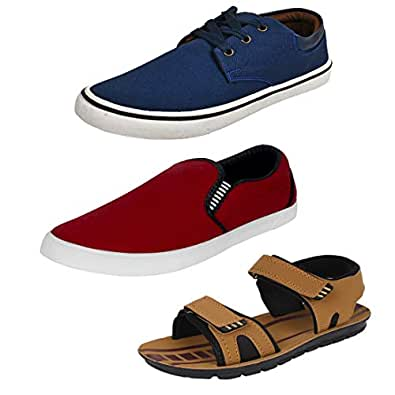 Bersache Men's Multicolor Combo Pack of 3 and Casual Wear Canvas Loafers & Moccasins(Size -10)