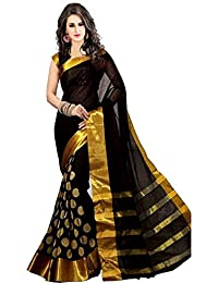 Zypara Women's Cotton Silk Saree (Black_Gold_Goli_Black And Gold_Free Size)