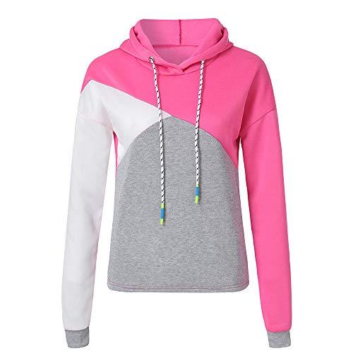 FeiBeauty Frauen langärmelige Farbe passenden Herbst und Winter langärmelige sexy Kapuzenpullover damen Farbe Kordelzug Kapuzen-Shirt Sportbekleidung