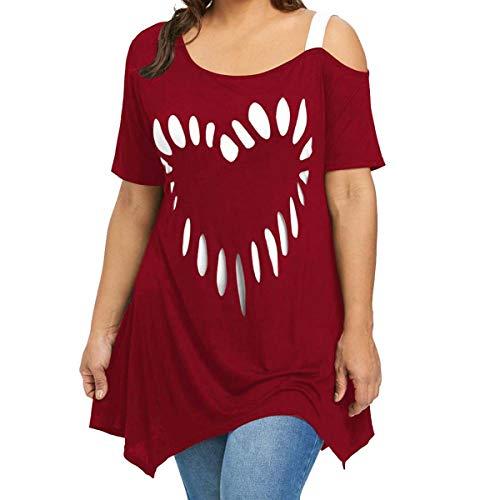 Printing Shirt Short Sleeve Large Size Women Love Casual Shirt Top Blusas Large Size Lady Love Print Short-Sleeve Shoulder Shirt Wine Red XXL -
