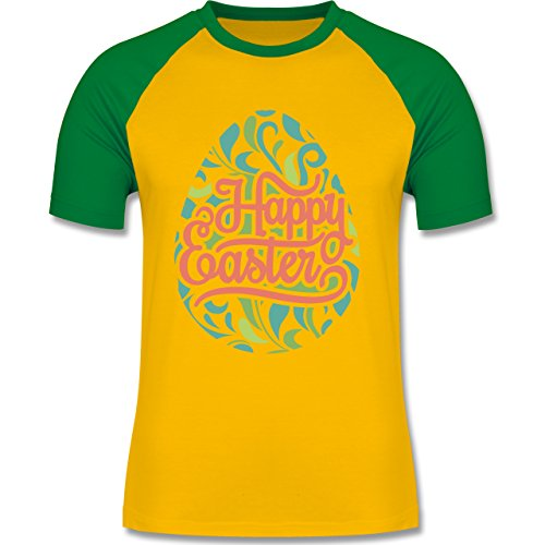 Ostern - Osterei Typografie floral - zweifarbiges Baseballshirt für Männer Gelb/Grün
