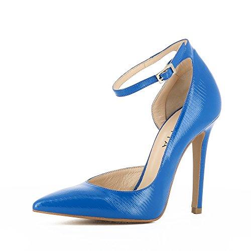 Evita Shoes Lisa Damen Pumps halboffen Geprägtes Leder Blau 35