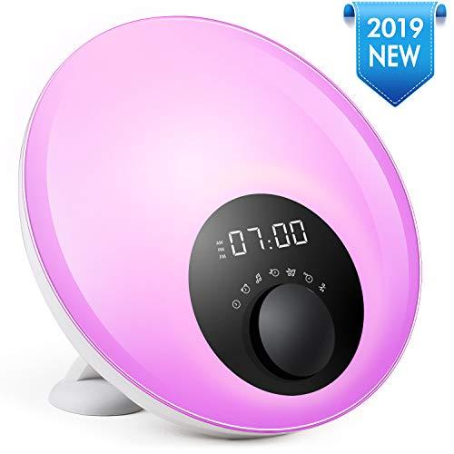 Wake Up Licht Lichtwecker, Wake-up Light, ETSHiP Sonnenaufgang Simulation Wecker mit 6 natürlichen Sounds, FM-Radio, Touch Control Nachttischlampe Wecker Einschlafhilfe für Erwachsene und Kinder.