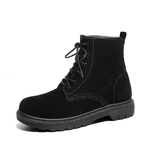 Hsxz Femmes Nubuck Cuir Chaussures Hiver Automne Combat Bottes De Combat Bottes Chaussures À Talon Bas Bout Rond Mi-veau Bottes Lacets Pour Casual Noir