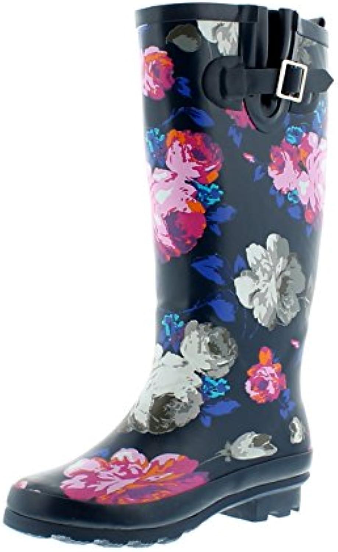 Nuevo Mujer Ancho FIT Gomilla Wellington Botas en Estampado Floral - Azul Marino Floral - GB Tallas 3-8