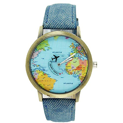Armbanduhren Damen Mode New Global Travel Mit Dem Flugzeug Karte Frauen Kleid Watch Denim Fabric Band 2018