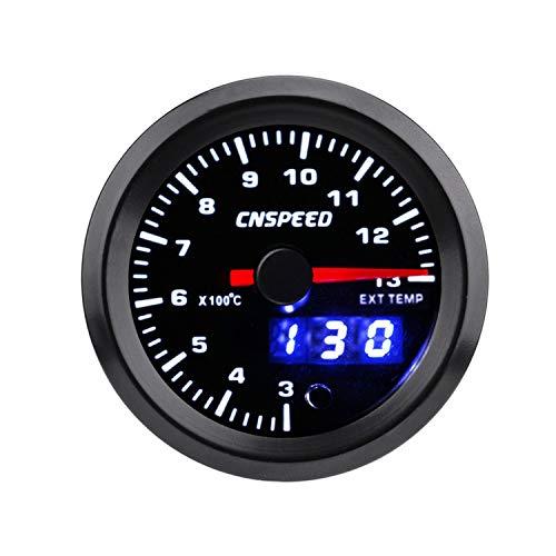HH-Sensor Sensore 2'52mm 7 Colori LED Indicatore di Temperatura del Gas di Scarico for Auto 300-1300 Celsius EGT Meter Indicatore analogico/Digitale a Doppio Display