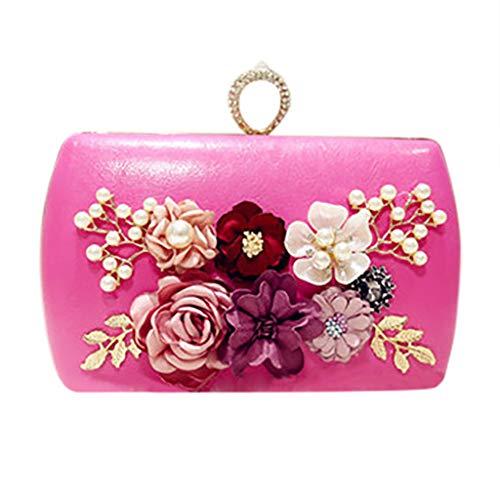 SoonerQuicker Brieftasche Damen Frauen Kette Abend Handtasche Party Sparkly Clutch Geldbörse Schulter Cross Bag pink One Size
