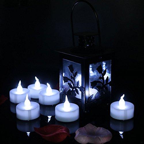 le weiße flackernde Timing-Funktion batteriebetriebene LED-Teelichter Kerzen, ungesund kleine flammenlose Teelicht Kerzen (6 Stunden auf 18 Stunden aus) für Hochzeit, Party, Festiva (Halloween-led-kerzen)