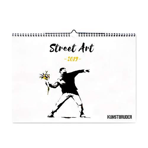 Wandkalender Streetart Kalender 2019 - Kunstkalender in A4 Querformat mit den besten und schönsten Streetart Bildern - Jahreskalender Banksy Graffiti Wohnzimmerkalender Bürokalender (Streetart)