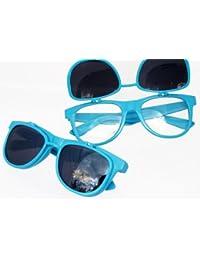 Wayfarer Brille Blau aufklappbar! 2012 + Nerd Brillenbeutel