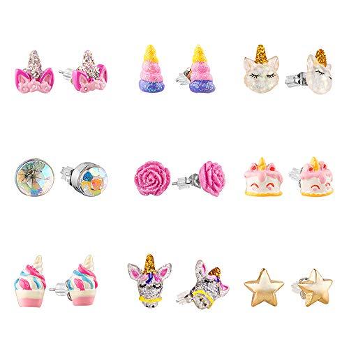 Aretes hipoalergénicos para niñas, aretes de unicornio lindos y coloridos para niños