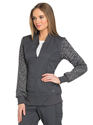 Dynamix By Dickies Women's Zip Front Warm-Up Solid Scrub Jacket Xx-Small Pewter (Scrubs Dickies Zip)