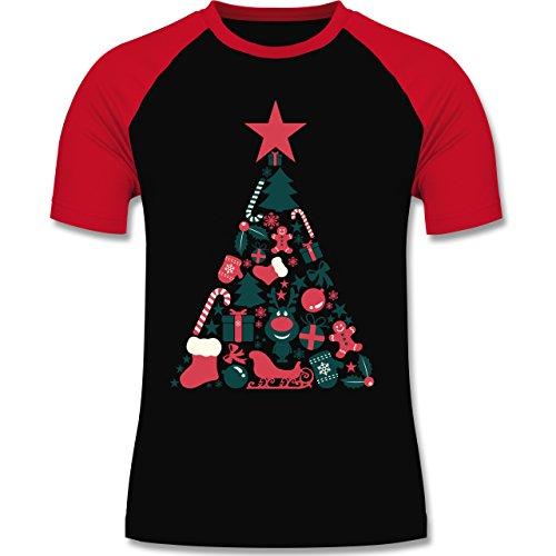 Weihnachten & Silvester - Weihnachtsbaum Collage - zweifarbiges Baseballshirt für Männer Schwarz/Rot