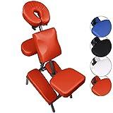 BB Sport Massagestuhl SHIVARA Tattoo Stuhl klappbar mit Tragetasche belastbar bis 130 kg, Farbe:rot